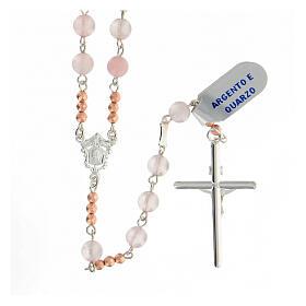 Terço prata 925 contas de quartzo rosa e contas Pai Nosso hematita rosada s2