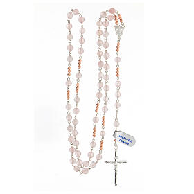 Terço prata 925 contas de quartzo rosa e contas Pai Nosso hematita rosada s4