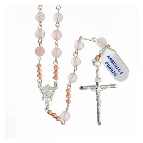Terço prata 925 contas de quartzo rosa e contas Pai Nosso hematita rosada 1