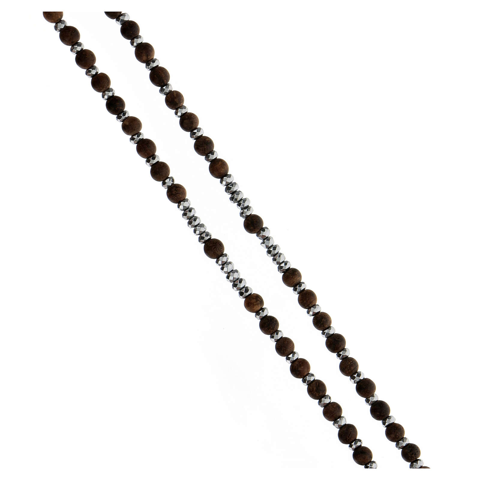 Rosario granos madera 3 mm hematites gris plata 925 Medalla Milagrosa 4