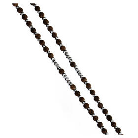 Rosario granos madera 3 mm hematites gris plata 925 Medalla Milagrosa s3