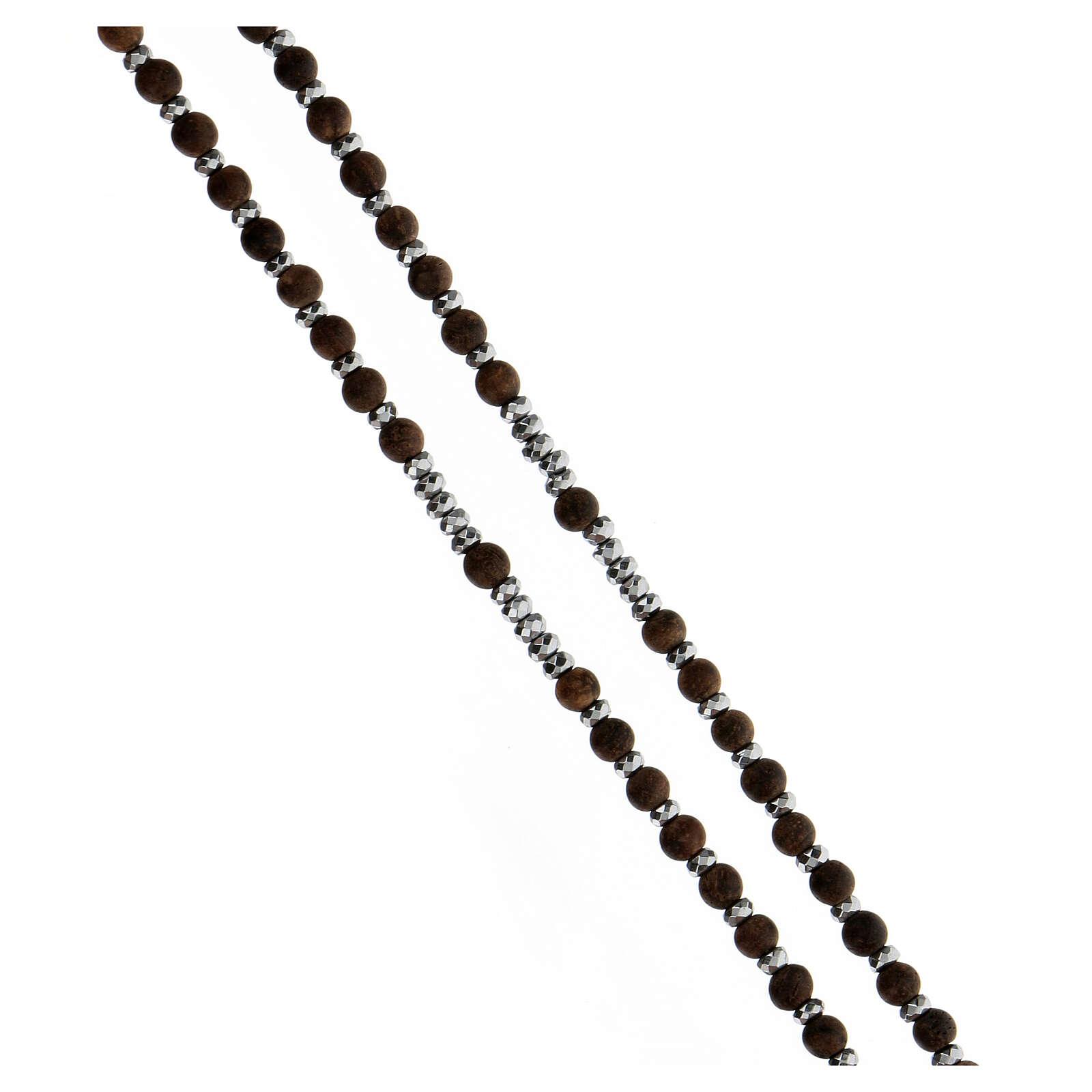 Chapelet grains bois 3 mm hématite grise argent 925 Médaille Miraculeuse 4