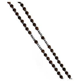 Chapelet grains bois 3 mm hématite grise argent 925 Médaille Miraculeuse s3