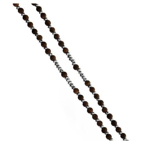 Chapelet grains bois 3 mm hématite grise argent 925 Médaille Miraculeuse 3