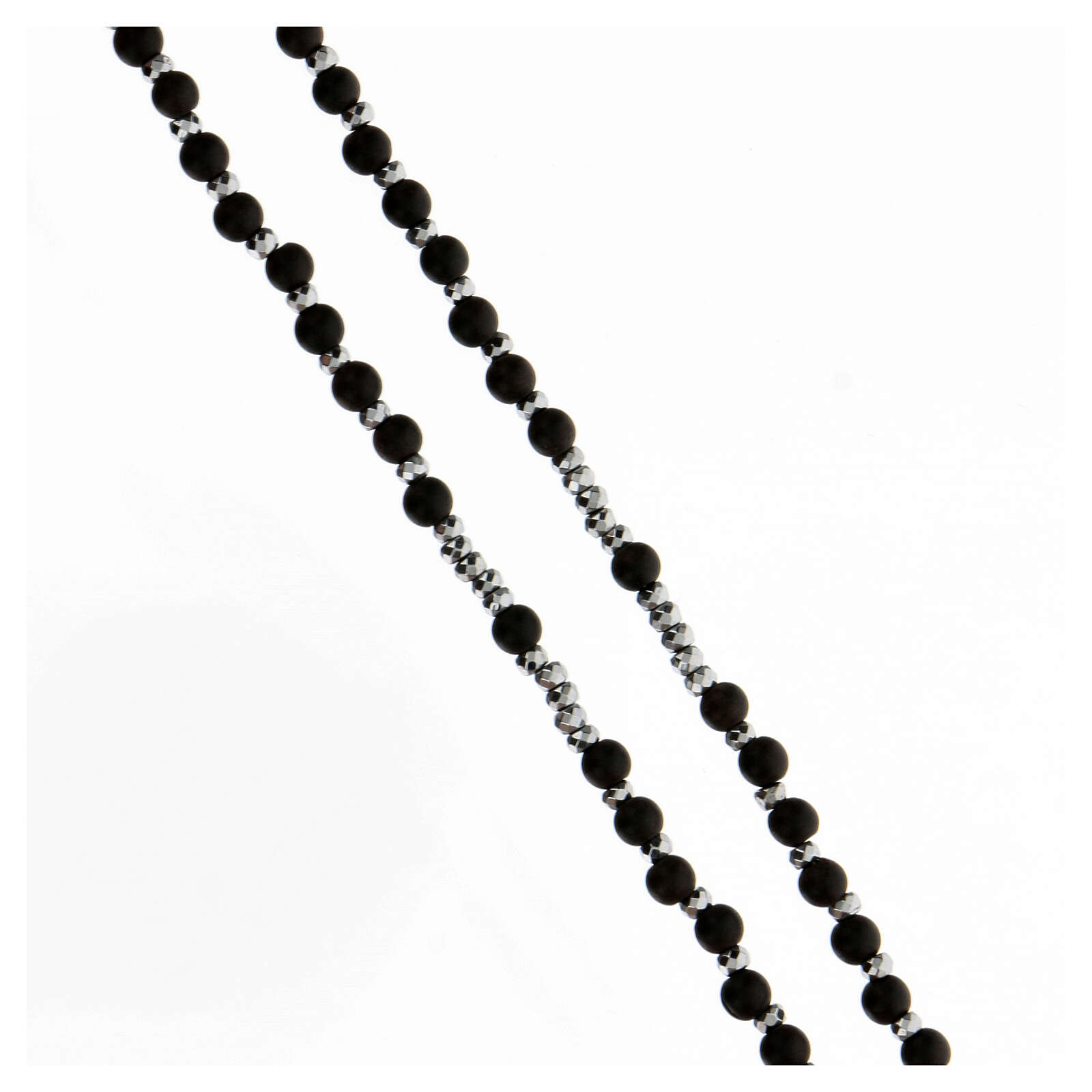 Rosario Medalla Milagrosa granos madera 3 mm negros bolitas hematites 4