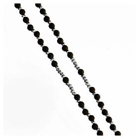 Rosario Medalla Milagrosa granos madera 3 mm negros bolitas hematites s3
