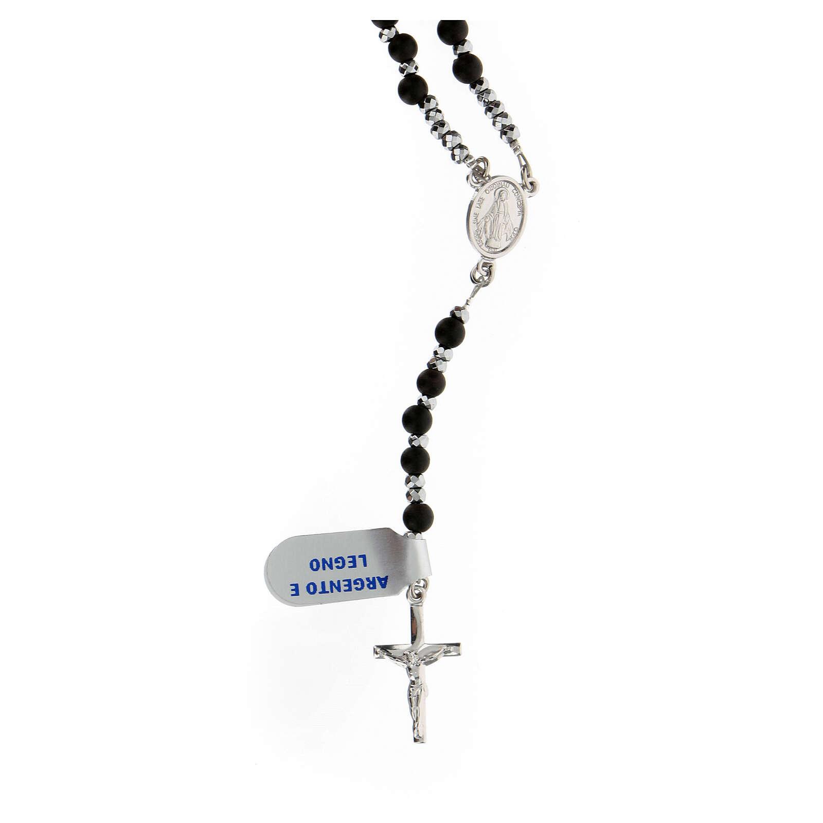 Chapelet Médaille Miraculeuse grains bois 3 mm noirs perles hématite 4