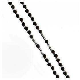 Chapelet Médaille Miraculeuse grains bois 3 mm noirs perles hématite s3