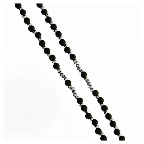 Terço prata 925 com contas madeira preta 3 mm e hematita cinzenta Medalha Milagrosa 3
