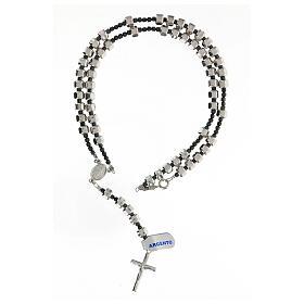 Rosario Medaglia Miracolosa grani bullone argento 925 5x7 mm ematite s4