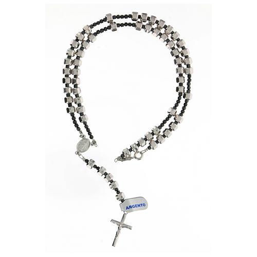 Rosario Medaglia Miracolosa grani bullone argento 925 5x7 mm ematite 4