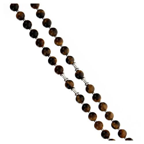 Rosario Medalla Milagrosa granos ojo de tigre 6 mm plata 925 3