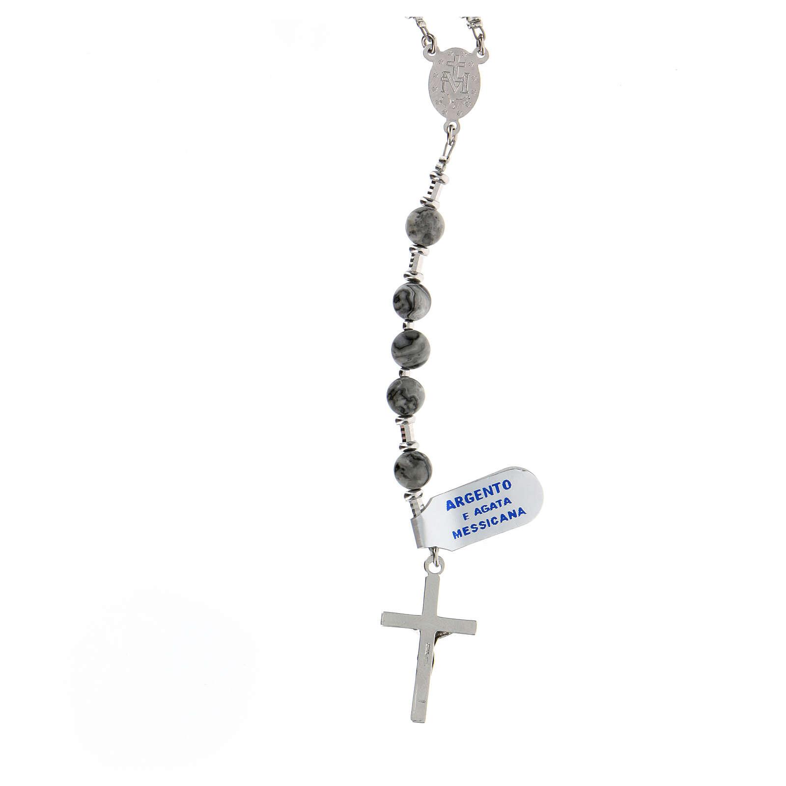 Rosario grani 6 mm agata messicana argento 925 Medaglia Miracolosa 4