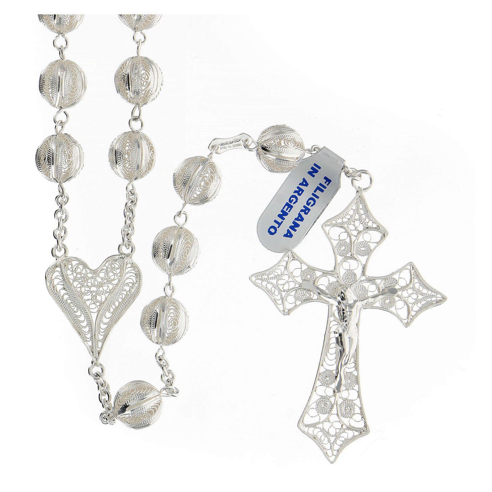 Rosario filigrana plata 925 cruce corazón cruz 5,6 cm 4
