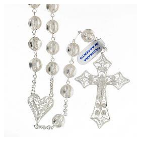 Rosario filigrana plata 925 cruce corazón cruz 5,6 cm s2