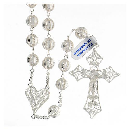 Rosario filigrana plata 925 cruce corazón cruz 5,6 cm 2