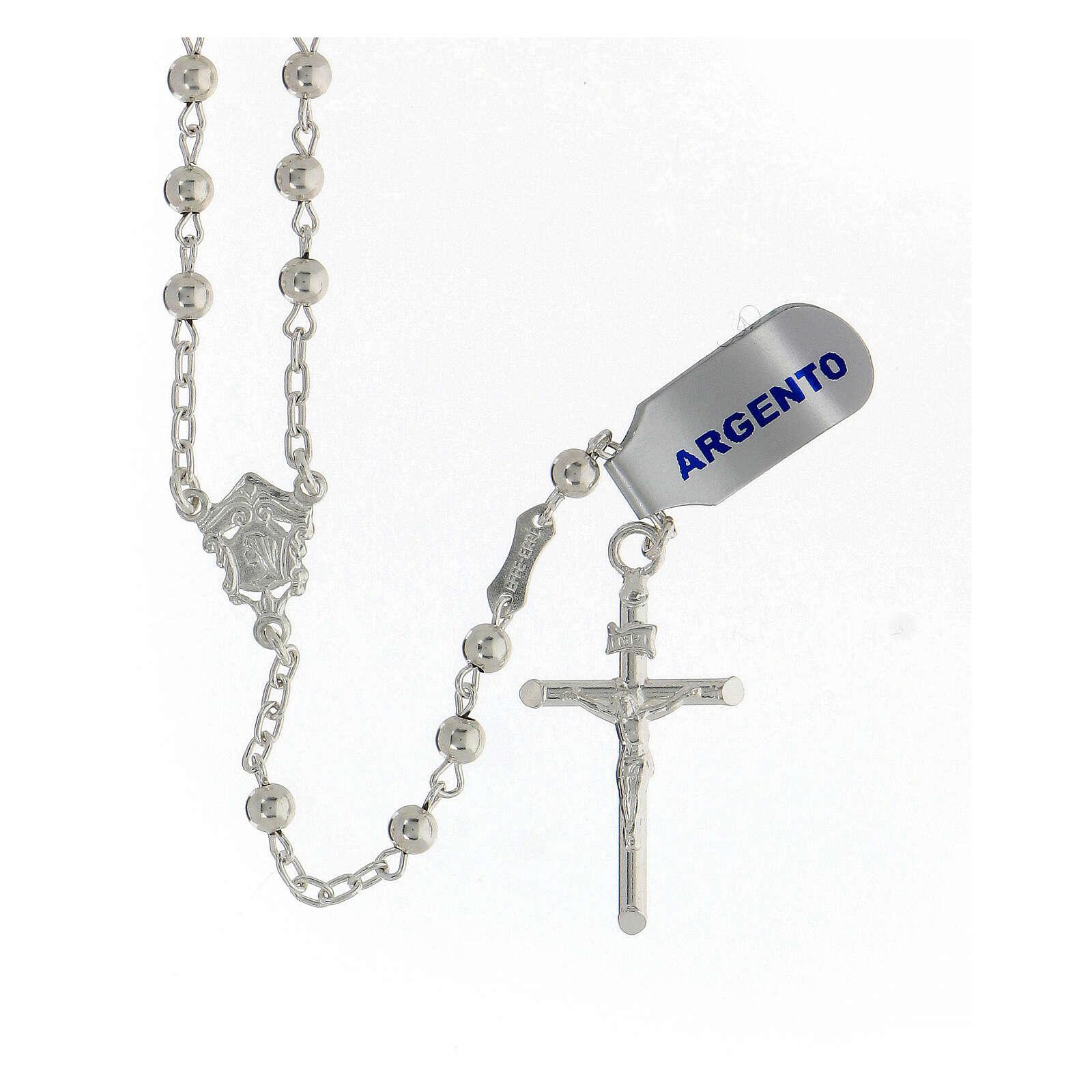 Chapelet argent 925 grains lisses croix tubulaire 11,2 gr 4