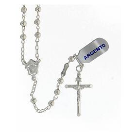 Chapelet argent 925 grains lisses croix tubulaire 11,2 gr s1