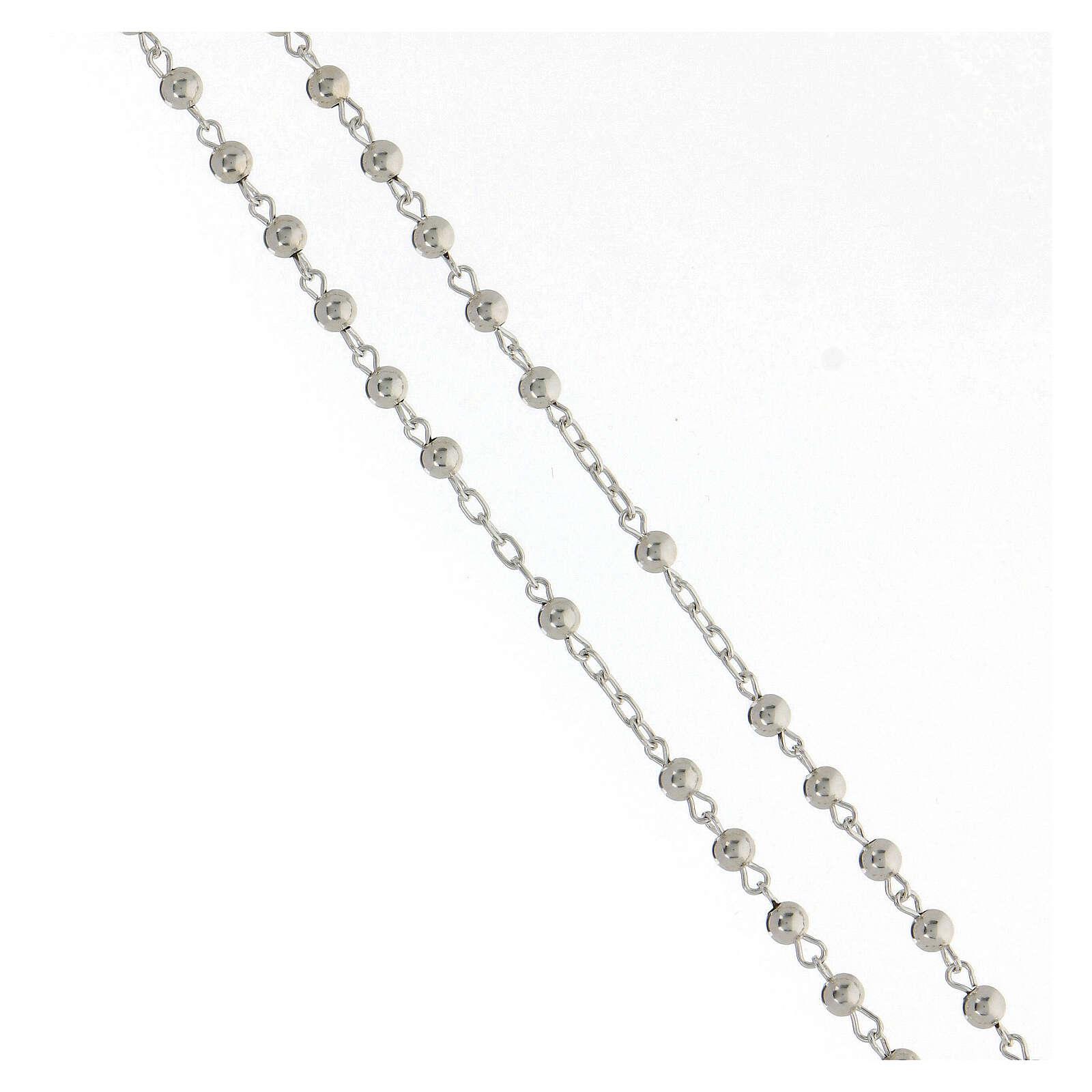 Rosario argento 925 grani lisci croce tubolare 11,2 g 4