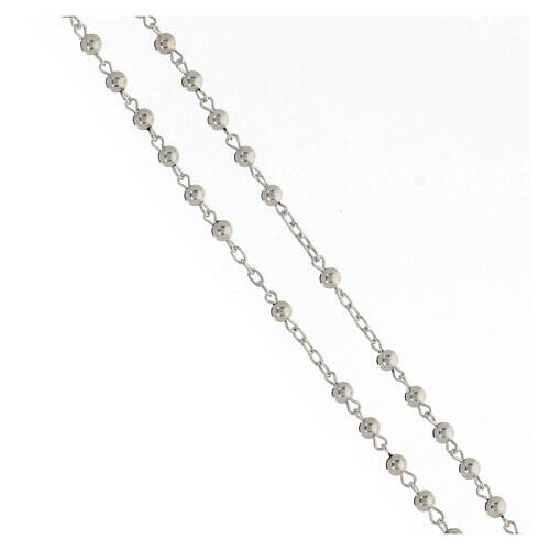 Rosario argento 925 grani lisci croce tubolare 11,2 g 3