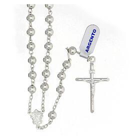 Rosario cruz tubular plata 925 granos 6 mm s1