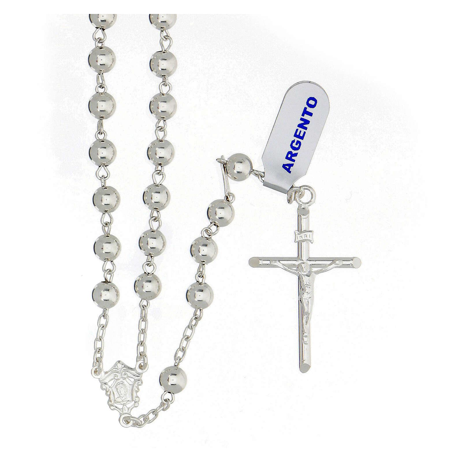 Chapelet croix tubulaire argent 925 grains 6 mm 4