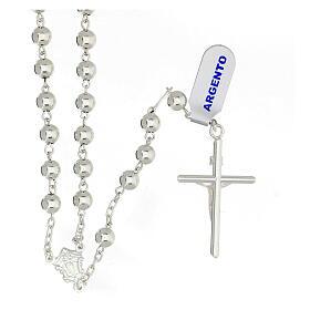 Chapelet croix tubulaire argent 925 grains 6 mm s2