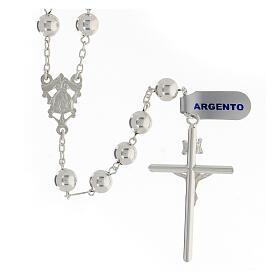 Chapelet argent 925 grains 8 mm croix tubulaire corps Christ s2
