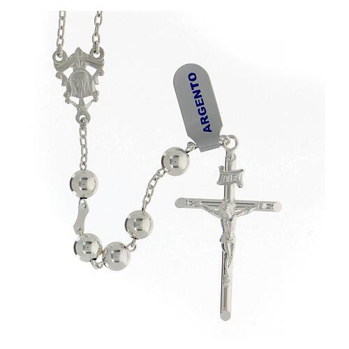 Chapelet argent 925 grains 8 mm croix tubulaire corps Christ 1