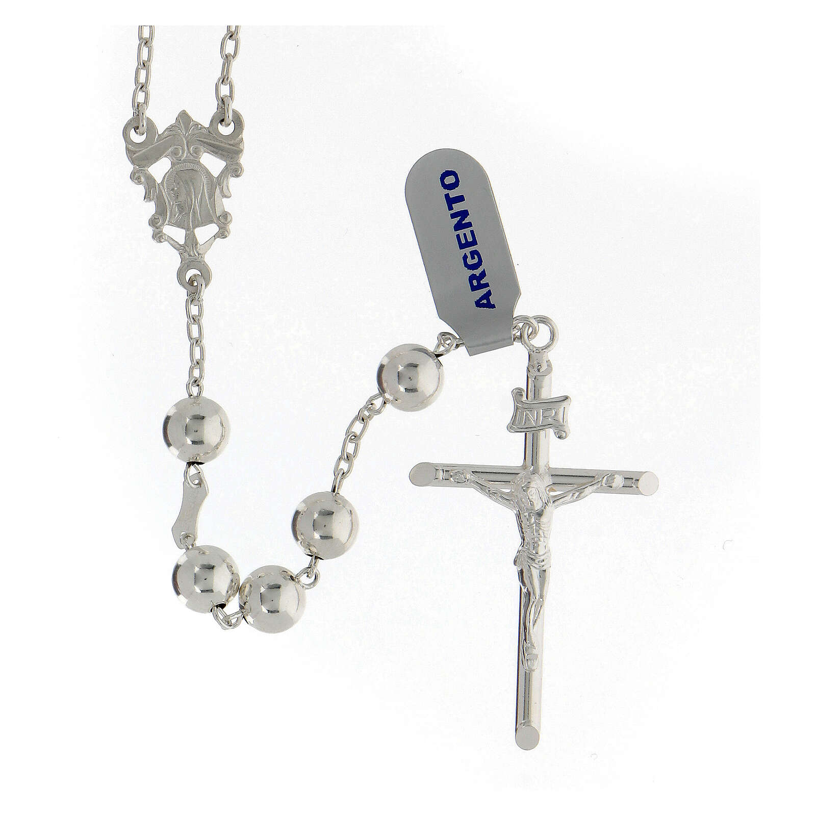 Rosario argento 925 grani 8 mm croce tubolare corpo Cristo 4