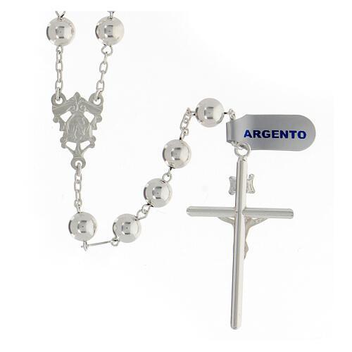 Rosario argento 925 grani 8 mm croce tubolare corpo Cristo 2