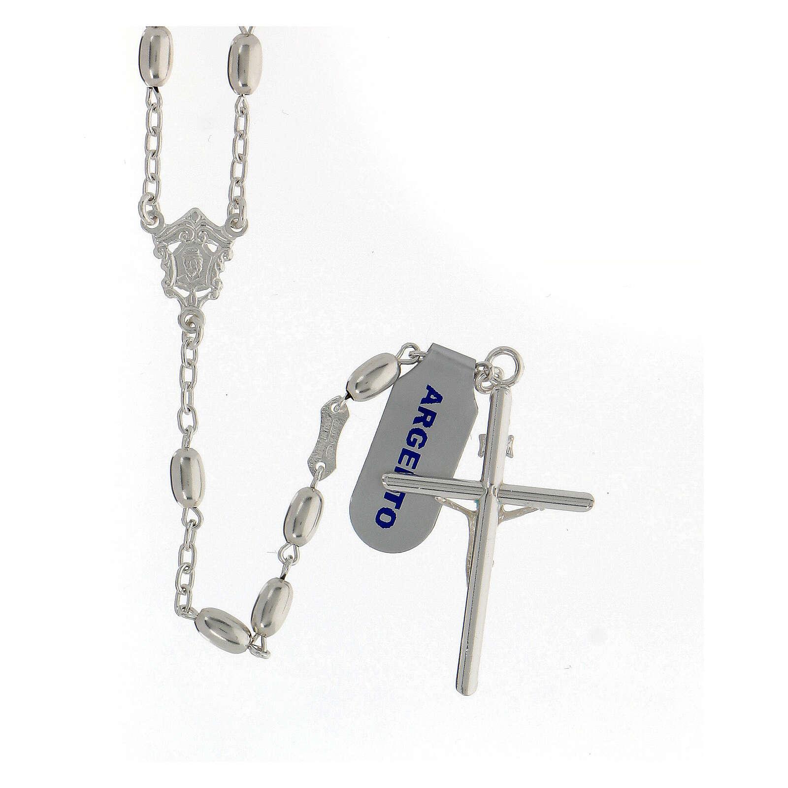 Terço contas ovais prata 925 e crucifixo, peso 18,7 gr 4