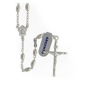 Terço contas ovais prata 925 e crucifixo, peso 18,7 gr s1