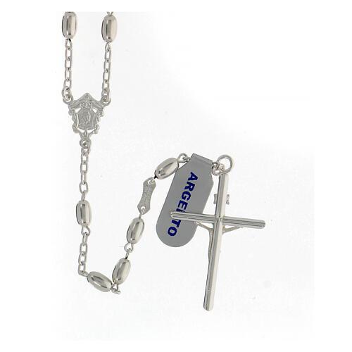 Terço contas ovais prata 925 e crucifixo, peso 18,7 gr 2