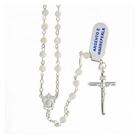 Rosario granos esféricos 4 mm nácar plata 925 Crucifijo s1