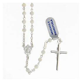 Rosario granos esféricos 4 mm nácar plata 925 Crucifijo s2