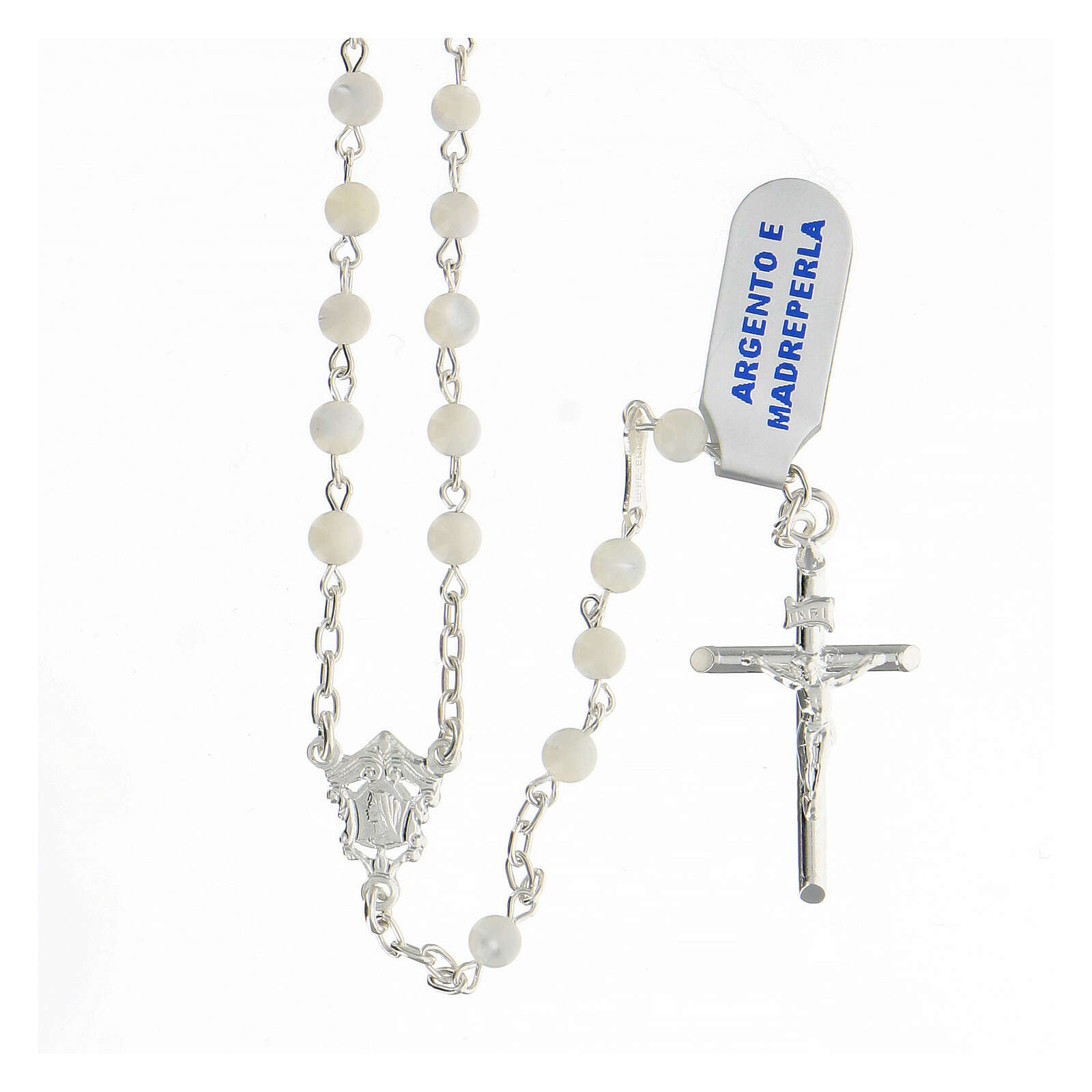 Chapelet grains sphériques 4 mm nacre argent 925 crucifix 4