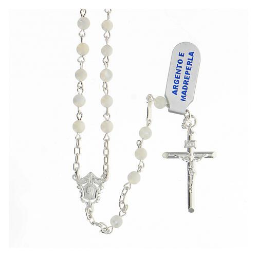 Chapelet grains sphériques 4 mm nacre argent 925 crucifix 1