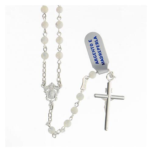 Chapelet grains sphériques 4 mm nacre argent 925 crucifix 2