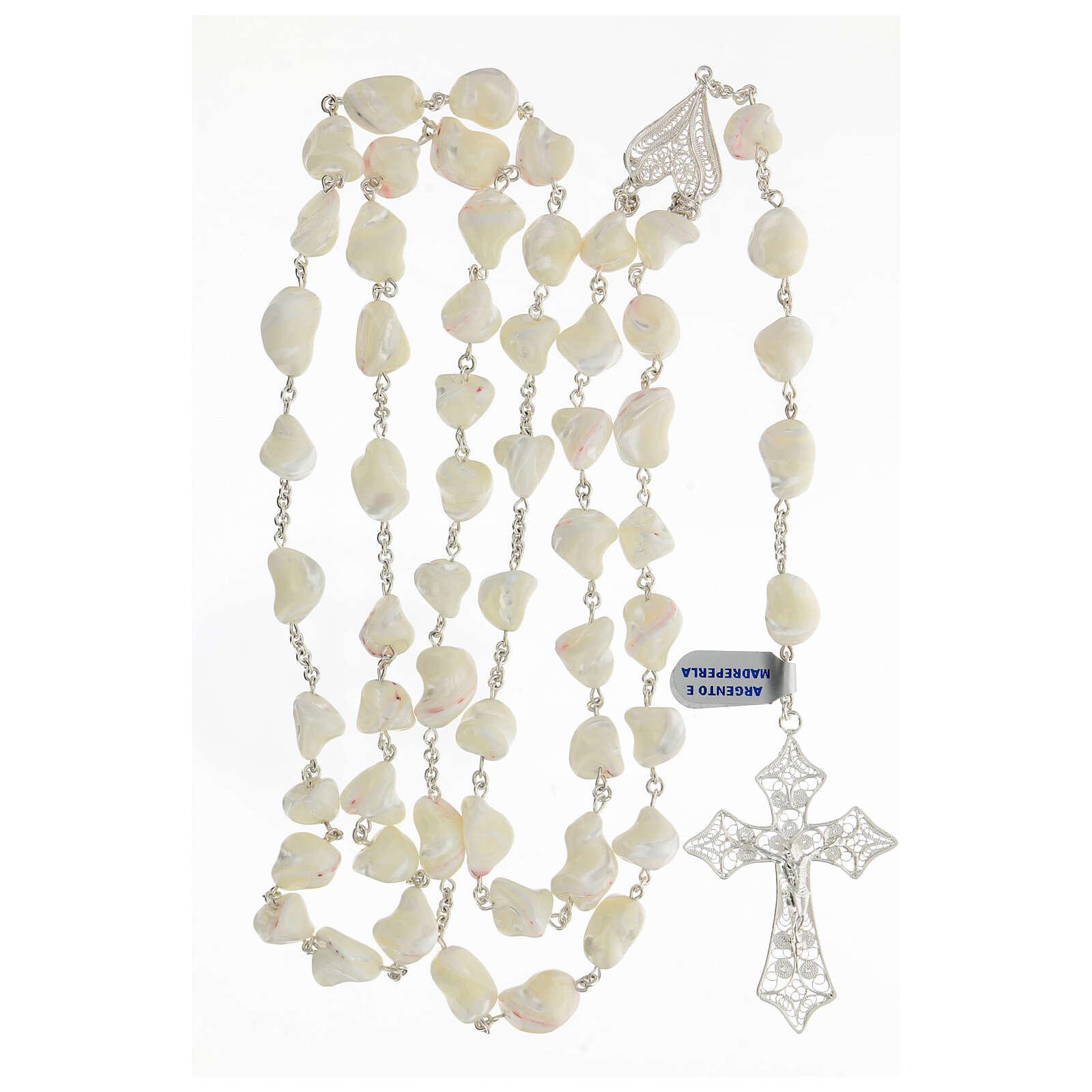 Rosario argento 800 croce filigrana perle barocche 4