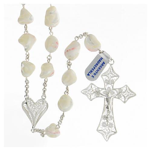 Rosario argento 800 croce filigrana perle barocche 1