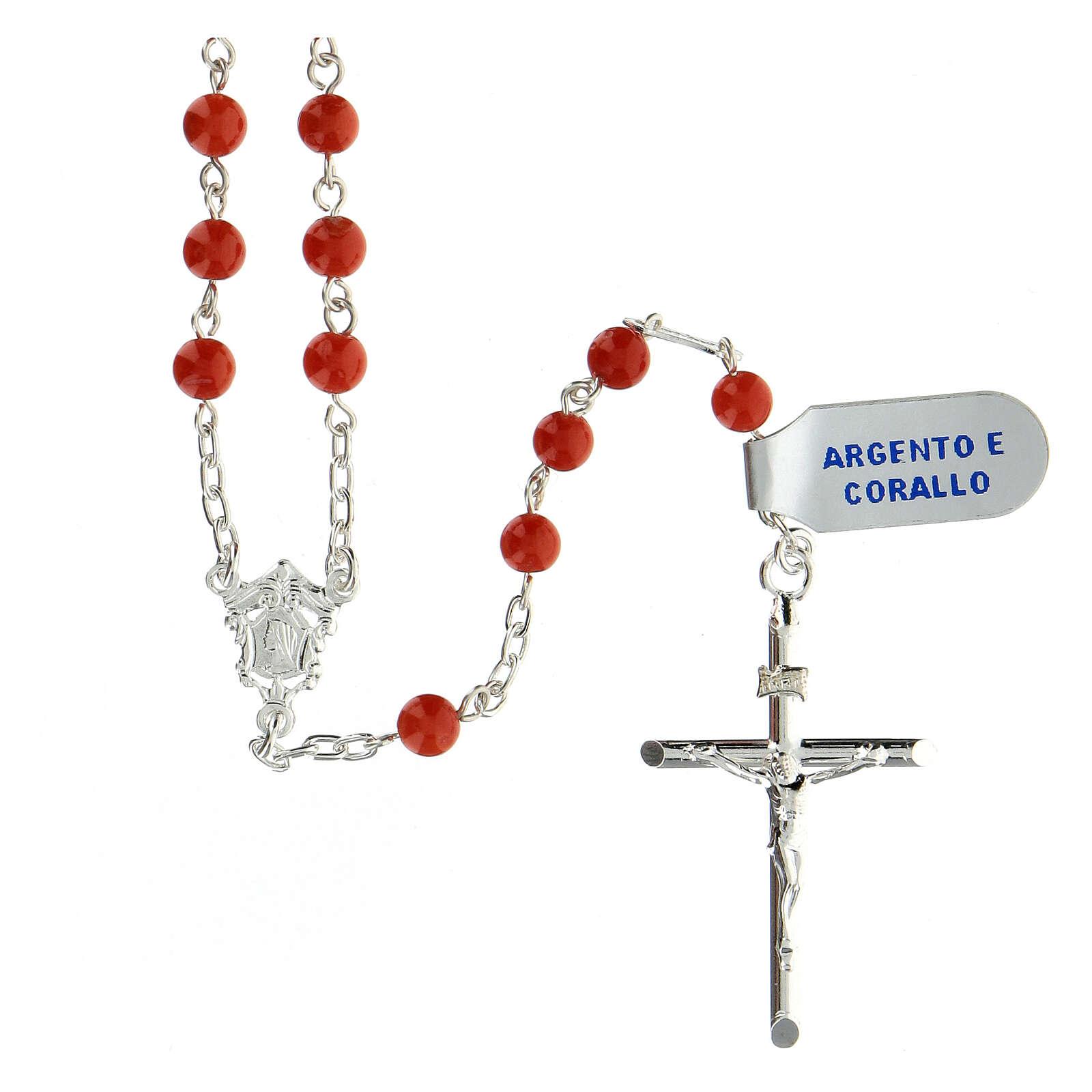 Terço prata 925 contas coral vermelho 5 mm, peso 17,8 gr 4