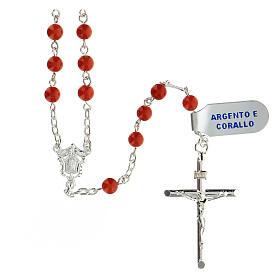 Terço prata 925 contas coral vermelho 5 mm, peso 17,8 gr s1