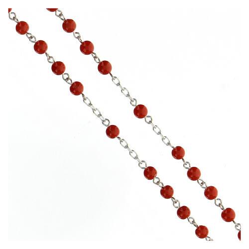 Terço prata 925 contas coral vermelho 5 mm, peso 17,8 gr 3