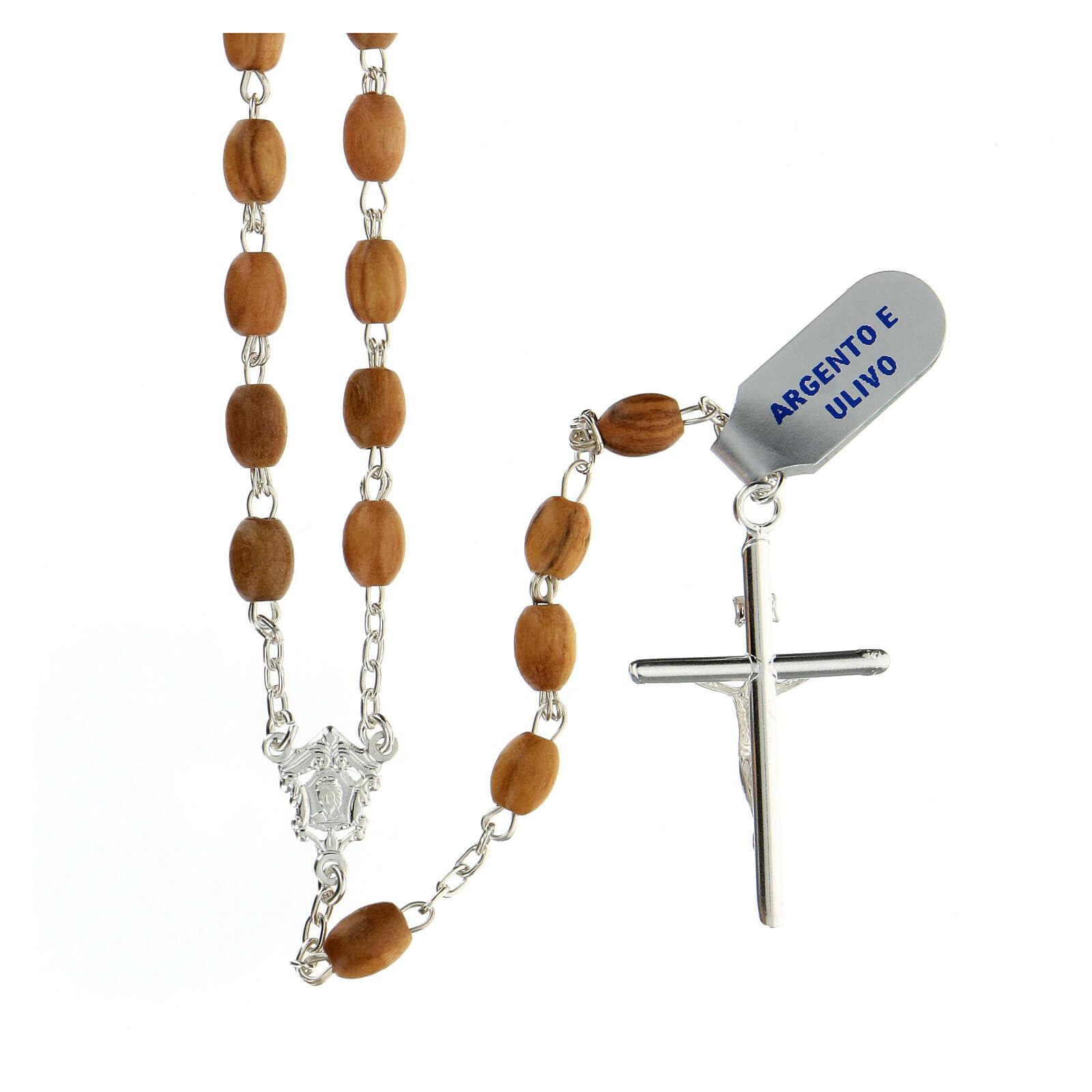 Terço prata 925 contas ovais madeira de oliveira 7x5 mm cruz Corpo de Jesus 4