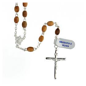 Terço prata 925 contas ovais madeira de oliveira 7x5 mm cruz Corpo de Jesus s1