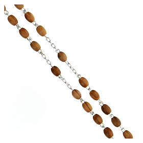 Terço prata 925 contas ovais madeira de oliveira 7x5 mm cruz Corpo de Jesus s3