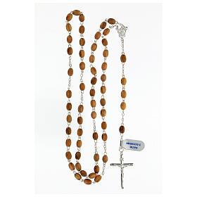 Terço prata 925 contas ovais madeira de oliveira 7x5 mm cruz Corpo de Jesus s4