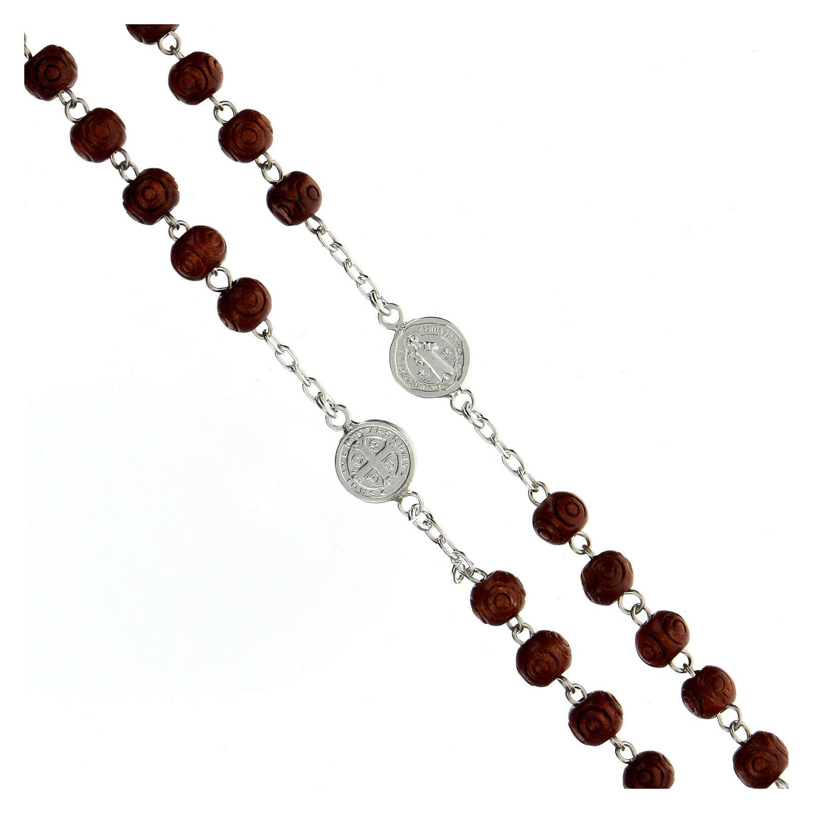 Rosario plata 925 medallas San Benito granos madera 7 mm 4