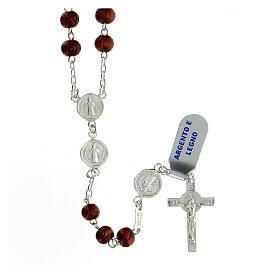 Rosario argento 925 medaglie San Benedetto grani legno 7 mm